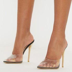 Clear black perplex slip on heels